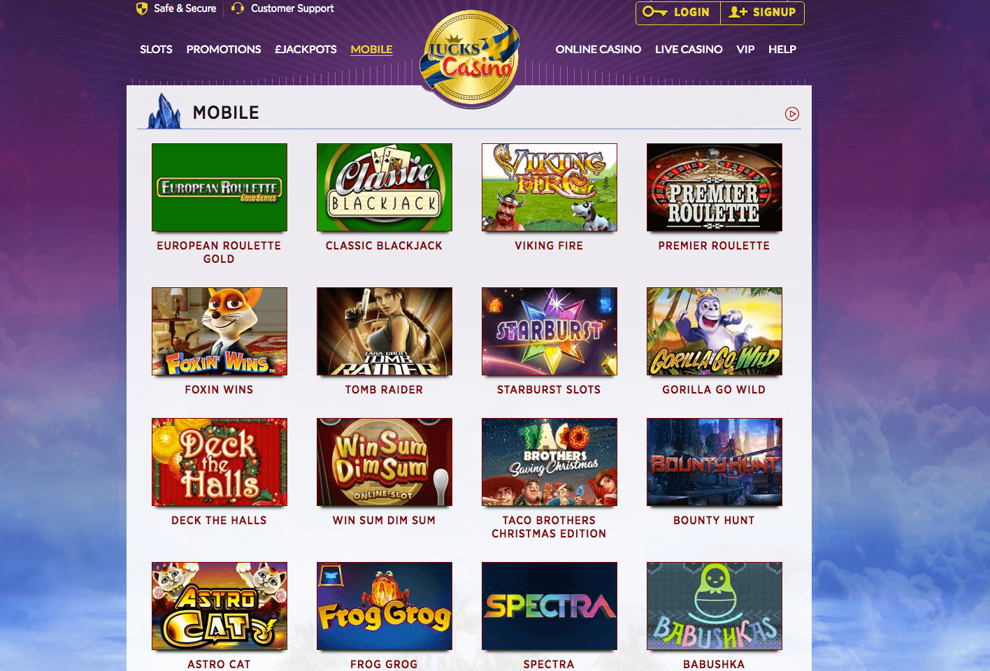 mobile casino games lucks casino