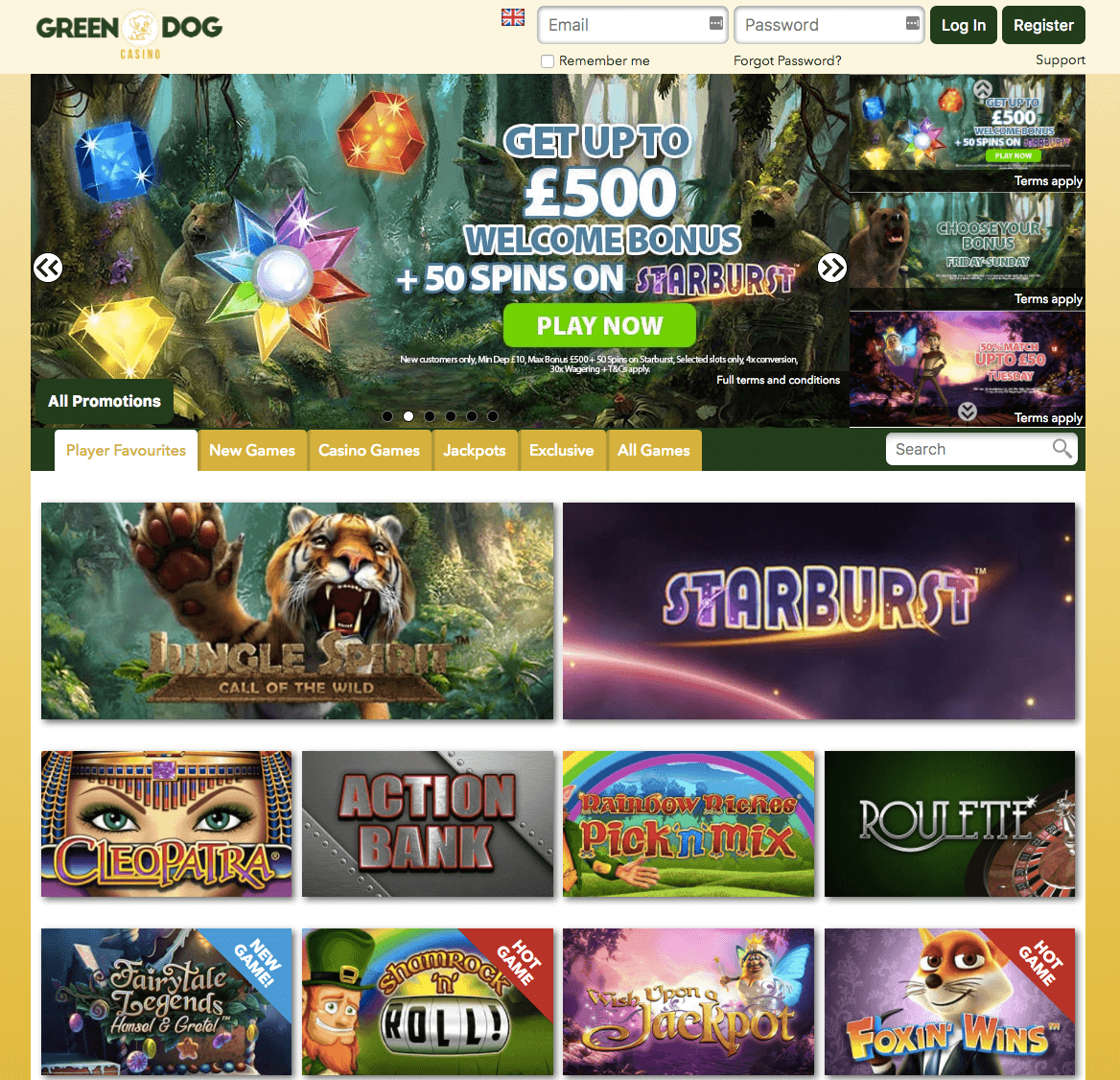 green dog casino web